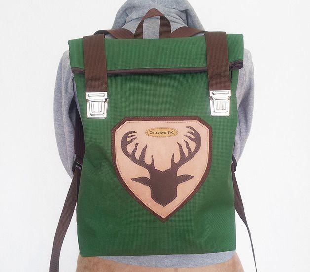 "Rucksack ""Hirsch"" aus recycelter Turnmatte, Männer-Mode, Leder // backpack ""deer"", recycled mat, leather, men fashion by zwischenPol via de.dawanda.com/?utm_content=bufferda2f2&utm_medium=social&utm_source=pinterest.com&utm_campaign=buffer"