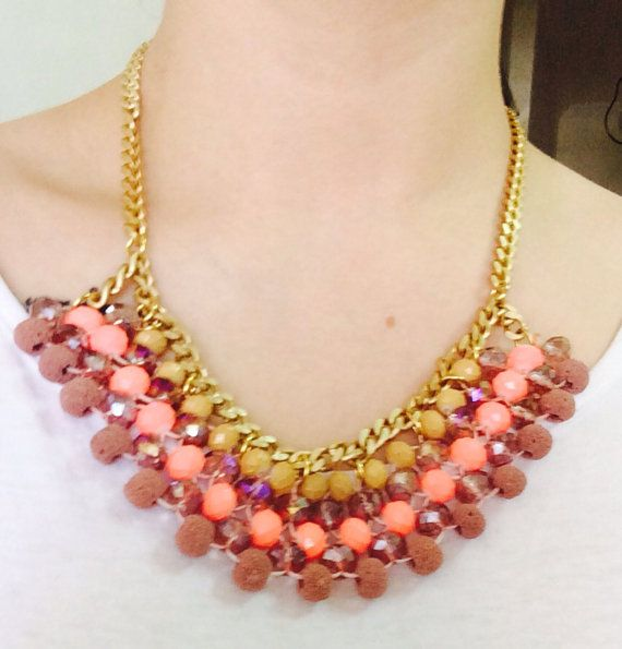 "Handmade Statement Necklace, Summer, Women, Style, Fashion, ""Pink Shades"" on Etsy, 18,00 €"