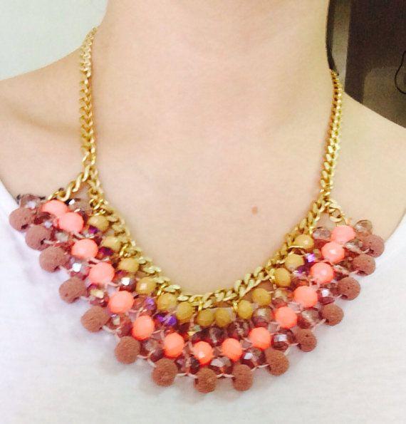 "Handmade Statement Necklace, Summer, Women, Style, Fashion, ""Pink Shades"" on Etsy, 18,00€"