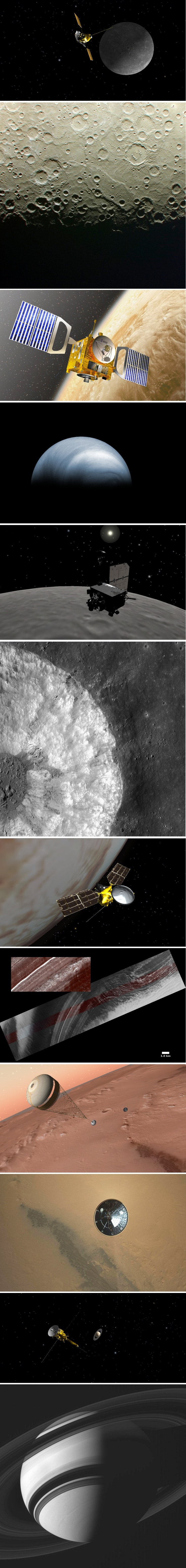 Six robotic spacecraft, each followed by a picture it took--all on the same day, August 5, 2012. The probes were rendered with NASA's 'Eyes on the Solar System' simulator. The photos are real.