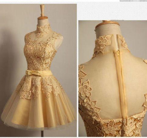 Gold Lace Applique Short Wedding Dress Evening Dress Bridal Gown
