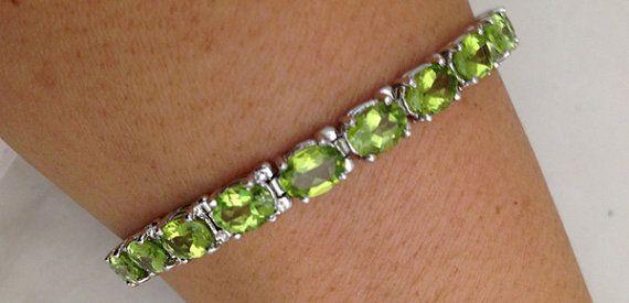 19.04 Carat Peridot Bracelet - Green Peridot - 14k White Gold - August Birthstone - Mother's Day - Anniversary Gift $899
