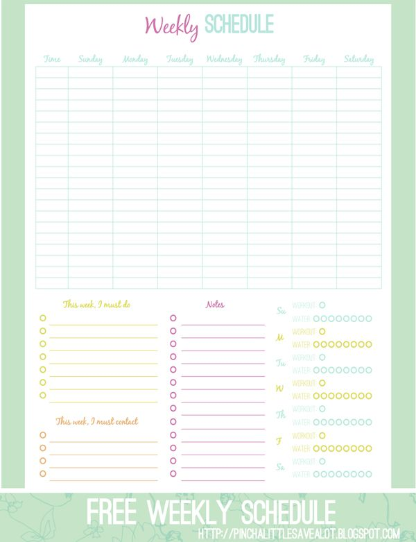 Weekly schedule. I want to be able to make up my own custom printables similar to this one. I wish I knew what program to use.