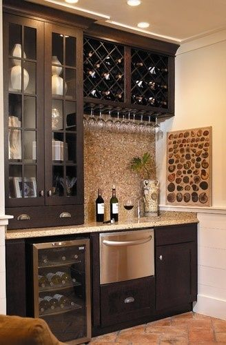 Bar by the fridge. Remove top cupboard doors and add wine rack to replicate this look.