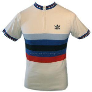 Adidas Originals Cycling Jersey White Red Blue Retro Top - Mens - 740639