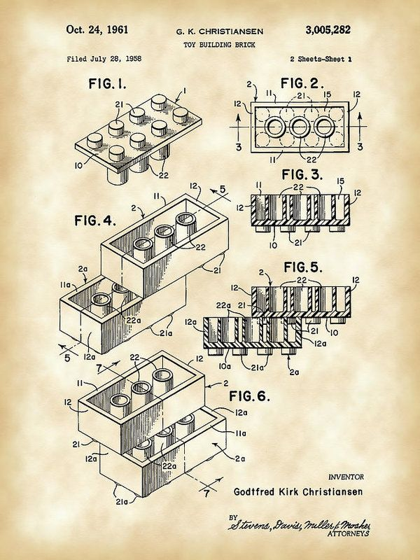 Lego Poster featuring the digital art Lego Patent 1958 - Vintage by Stephen Younts