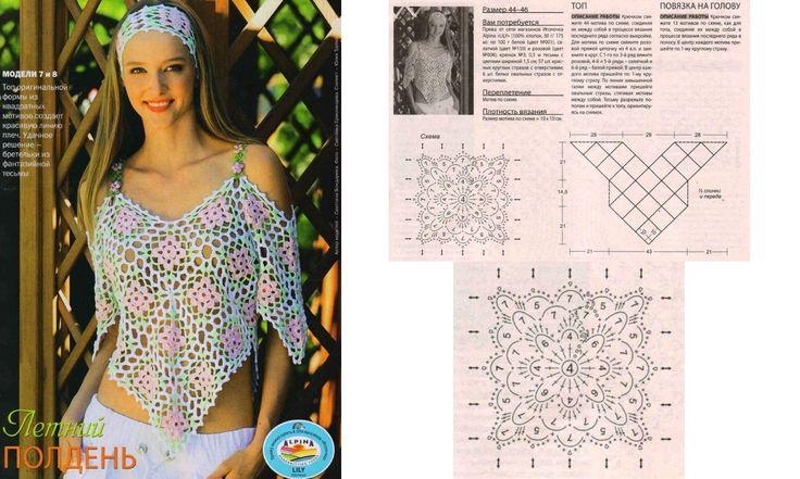 Tuniques et tops au crochet : modèles et grilles à imprimer ! - Crochet Passion