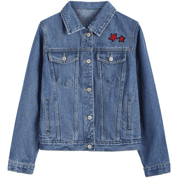 Button Up Star Embroidered Denim Jacket ($30) ❤ liked on Polyvore featuring outerwear, jackets, zaful, button up jacket, blue jean jacket, button down jacket, embroidery jackets and embroidered denim jacket