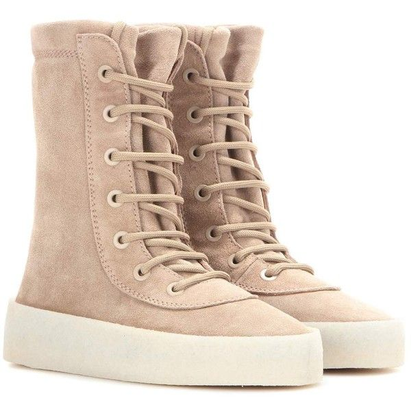 Yeezy Crepe Suede Boots (Season 2) ($645) ❤ liked on Polyvore featuring shoes, boots, beige, suede leather shoes, adidas originals, suede leather boots, beige shoes and crepes shoes