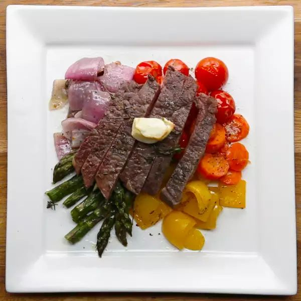 Sheet Pan Steak And Rainbow Veggies