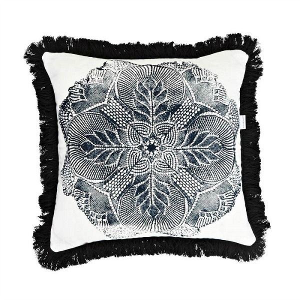 Black wool fringe #cushion