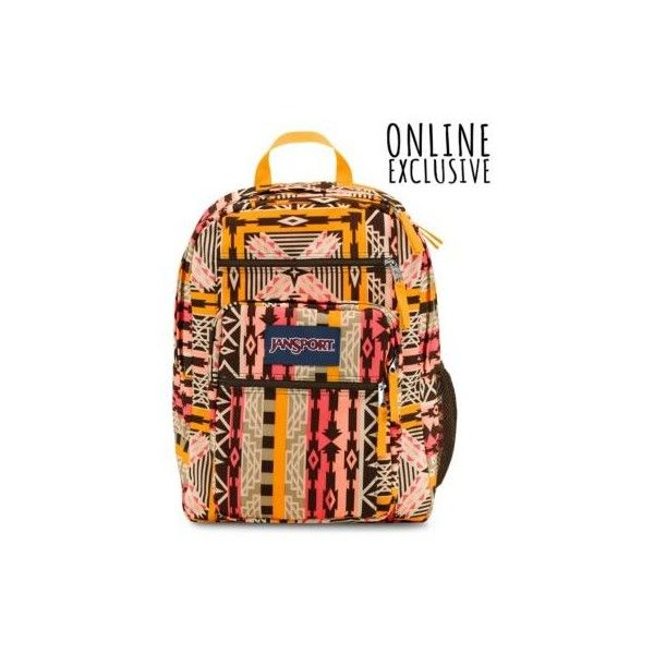 JanSport Big Student Backpack Downtown Brown Turning Tribal ($46) ❤ liked on Polyvore featuring bags, backpacks, downtown brown turning tribal, tribal rucksack, brown bag, padded bag, tribal print backpack and handle bag