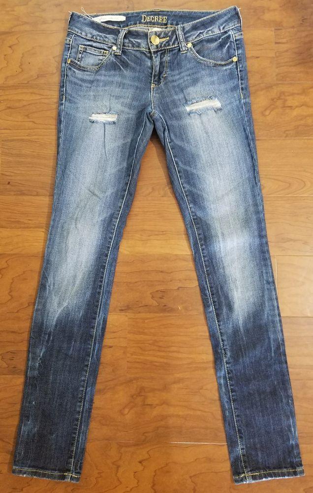 Decree Juniors Jeans Size 5 Destroyed Distressed Super Skinny Stretch  #Decree #Skinny