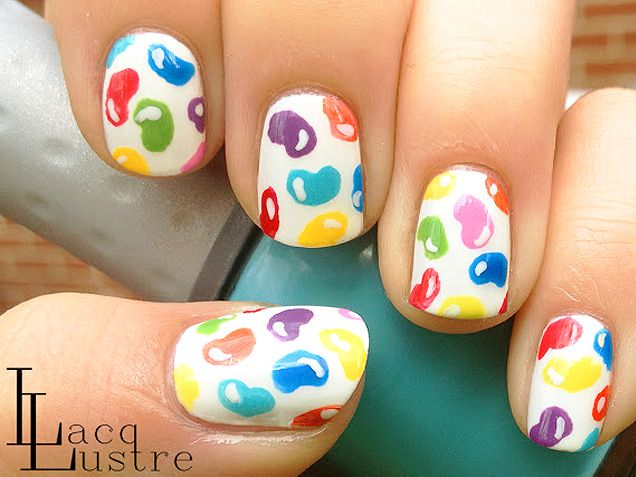Jelly Bean Nail Art... Yummy! http://www.ivillage.com/nail-art-designs-food-nail-art/5-a-542346