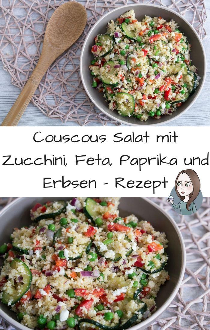 Couscous Salat Zucchini Erbsen Paprika Feta Rezept vegetarisch einfach schnell als Hauptspeise Beilage zum Grillen Party - zum Vorbereiten und mitnehmen