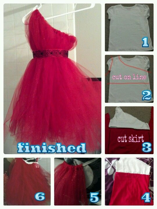 How to make my one shoulder tutu flower dresses! Make a lining so the kids wont get itchy wearing a tutu. Step 1 cut the tshirt. Step 2 cut a skirt out of fabric. Step 3 sew it together to make a lining. Step 4 wrap tulle around elastic to make a tutu. Step 5 add the tutu to the lining. Step 6 (optional) sew the top of the tutu to the top of the lining. Step 7 add a ribbon around the dress. Now your finished!