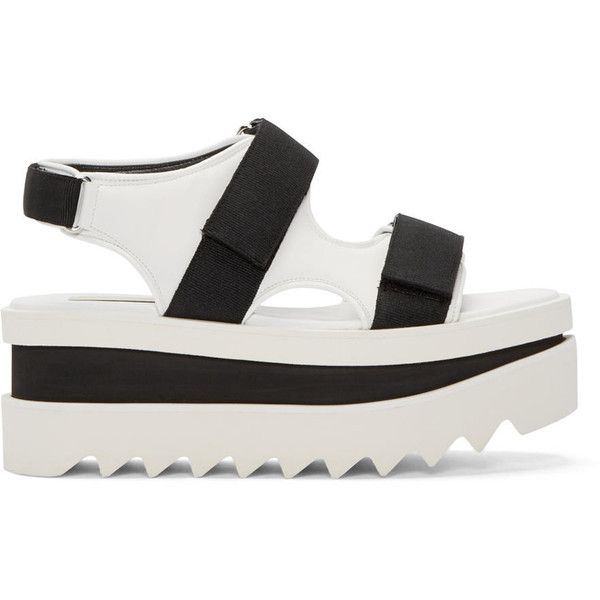 Stella McCartney White and Black Platform Velcro Sandal (£690) ❤ liked on Polyvore featuring shoes, sandals, white and black sandals, black and white flat sandals, black white sandals, flat shoes and black and white platform sandals