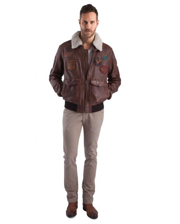Blouson aviateur en cuir marron, Mythic Daytona