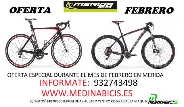 Oferta en bicicletas Merida durante todo el mes de febrero.