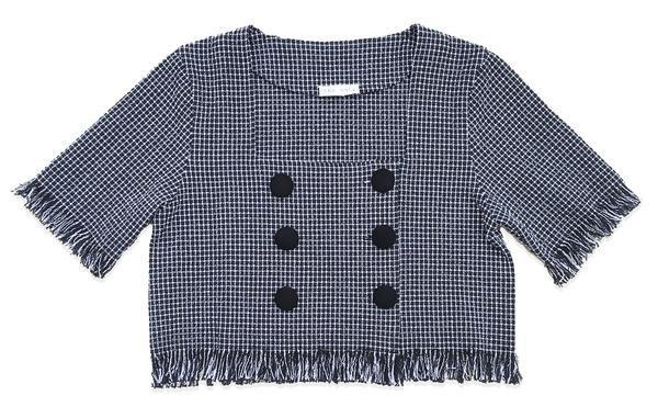 MIA   Cropped Tweed Boxy Top With Frayed Hem