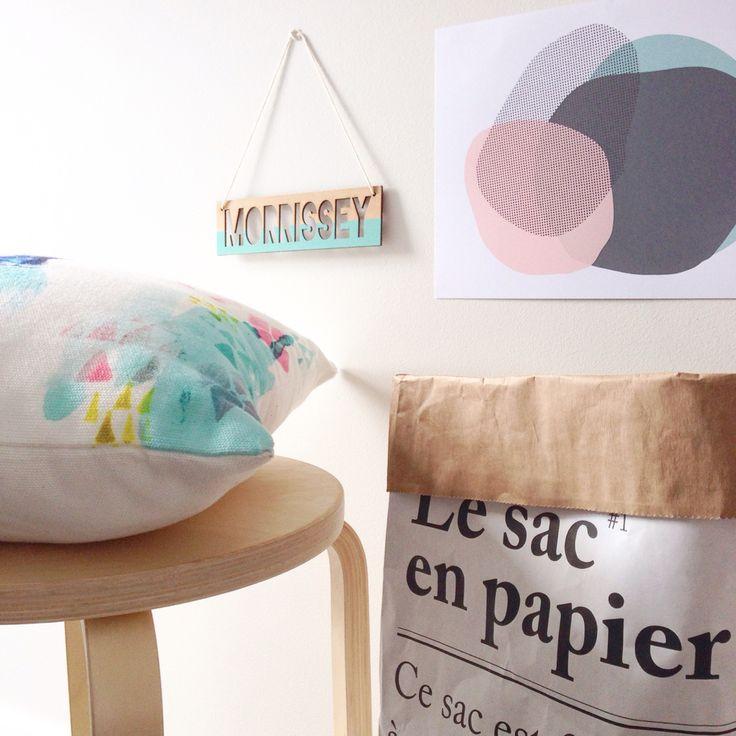 Beautiful pastels. zilvi wood name sign, ikea stool, adairs cushion and Yorklee prints Pastel Punch print! Perfect match.