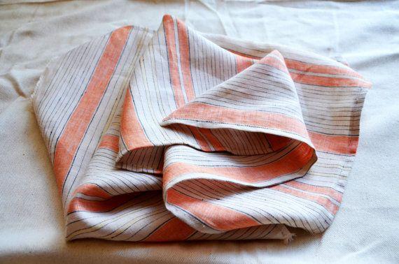 Set os 2 linen tea towels, Linen Dish Towel, Natural Linen Tea towel, striped kitchen towel, set of 2, vintage linen striped towel