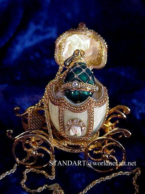 Russian Imperial Emerald Green Carriage with Faberge Egg Pendant Necklace