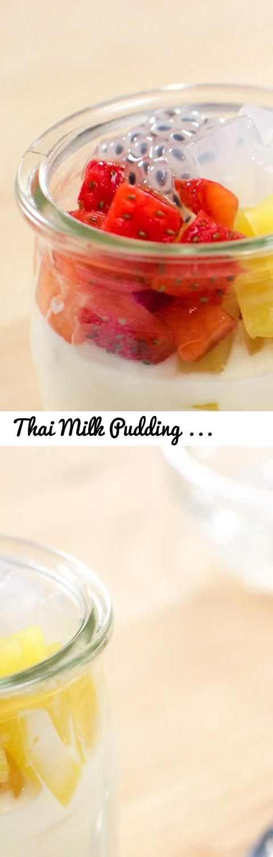 Thai Milk Pudding Recipe เต้าหู้นมสด - Hot Thai Kitchen!... Tags: Hot Thai Kitchen, Pailin, Pai, Chongchitnant, Cooking, food, Thai food, Thai cuisine, Thailand, Thai cooking, recipes, demonstration, cooking show, educational, recipe, อาหารไทย, สตรอาหาร, milk, pudding, tres leches, condensed milk, milk pudding, dessert, gluten free, gelatin, jelly, agar agar, fruit, jackfruit, mangluck seeds, nata de coco, light, whipping cream, cute, cute