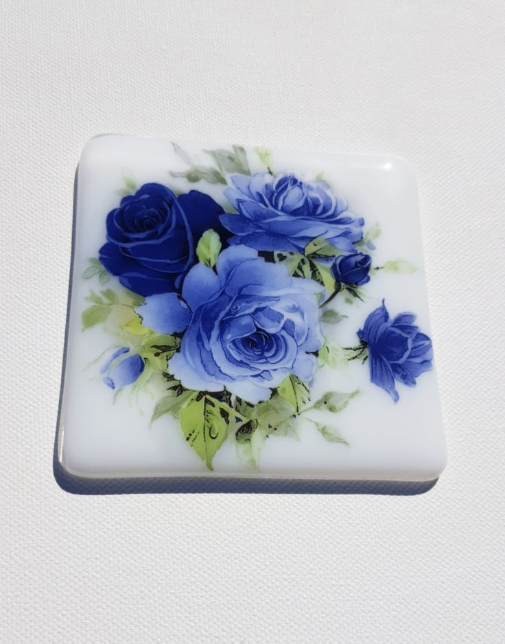 Blue Rose Coaster, Gifts For Her, Birth Ideas, Vintage Rose Decor, Present for Gran, Drinks Mat for Great Aunt, Mothers Gift