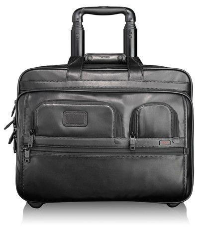 Tumi - Alpha - Deluxe Lederaktentasche auf Rollen mit Laptophülle