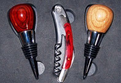Wine Bottle Stoppers- Box Set by Wood U Like. $59.99. Made from a variety of exotic woods.. Handmade in the USA.. Includes one corkscrew opener.. One of the stoppers is made of cocobolo rosewood; an exotic woode used in numerous models of Taylor guitars. from Central America. Another stopper is made of white oak that is also used to make barrels to age wine. From Eastern North America. Color may vary slightly. Tha last two stoppers are handmade and also made from cocobo...