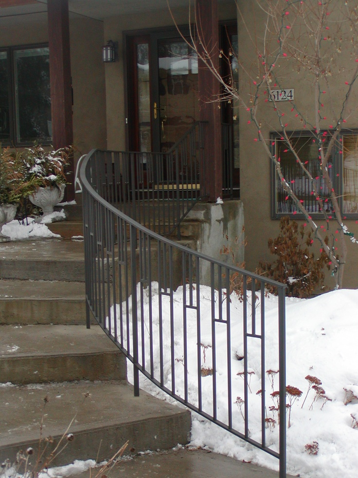 Curved Iron Step Railing With Mission Style Design Iron