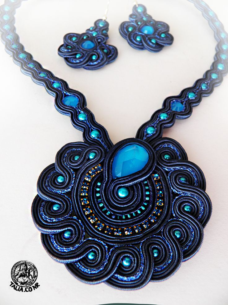Soutache set of pendant and earrings by caricatalia.deviantart.com on @deviantART