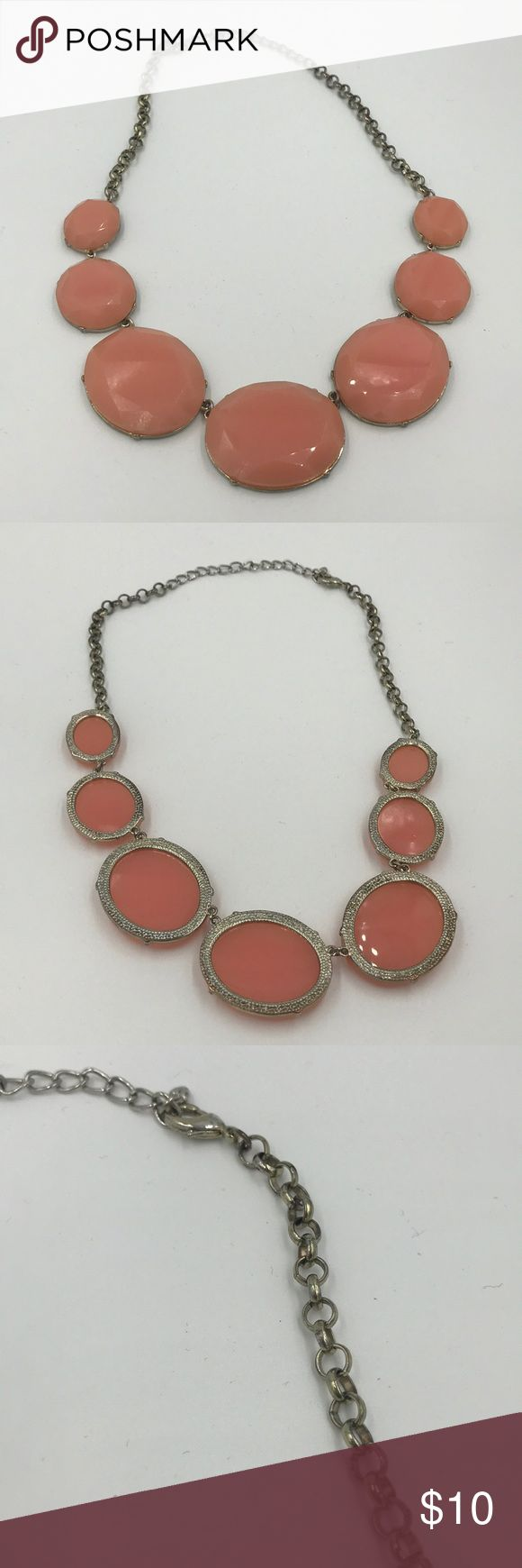 Bauble Bar Pink/Peach Necklace Pre-owned. Note there is some oxidation on the chain. baublebar Jewelry Necklaces