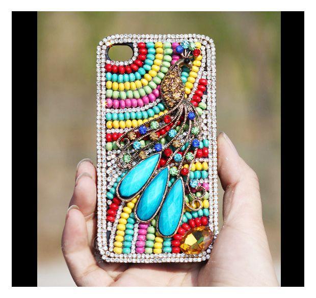 Swarovski Rhinestone Crystals beads Peacock iPhone case