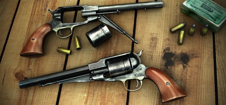1858 Remington Revolvers with conversion cylinders.  many of the cap and ball revolvers were converted to cartridge firing pistols. No small task.