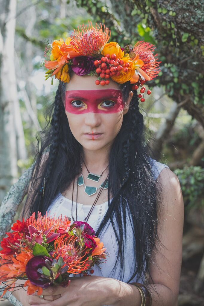 Bold colour chunky flower crown with pokahauntus inspired make up for this spring time photo shoot by febella flowers
