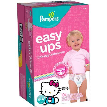 Pampers Easy Ups Girls Training Pants, Size 3T-4T (Choose Pant Count) - Characters May Vary, Pink