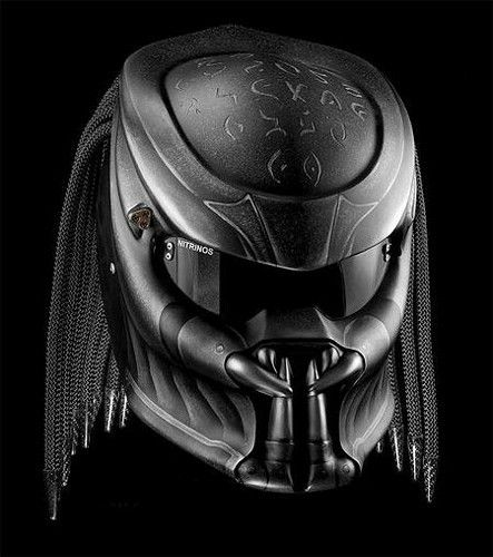 Custom Predator Motorcycle Dot Approved Helmet Matt Black | adi075777 -  on ArtFire