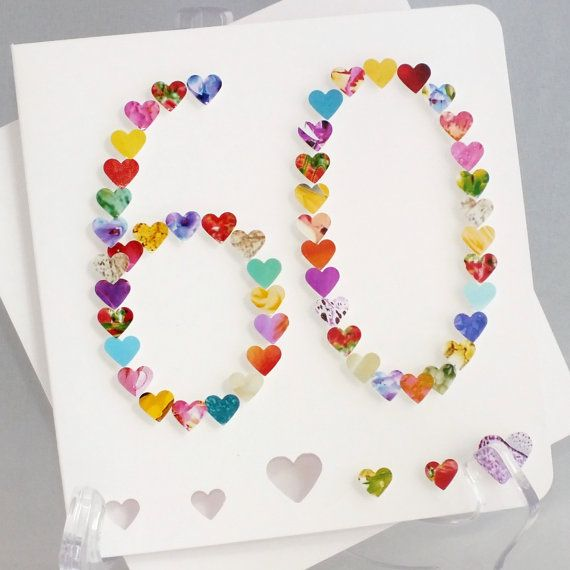 Handmade 3D '60' Card - 60th Birthday Card, 60th Anniversary, Sixty, Sixtieth Card, Wedding Anniversary Personalised Sister Mum Name BHA60