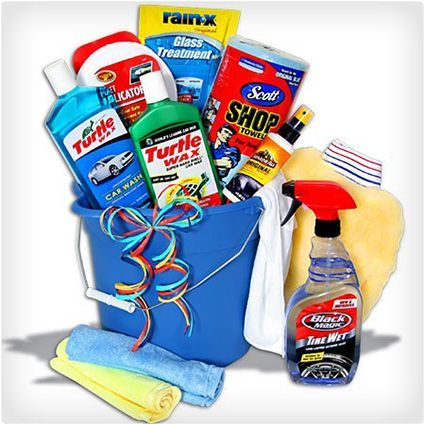Deluxe Car Wash Bucket For the car enthusiast you can't go wrong with this deluxe car wash bucket. It has everything they need to do a pristine job on their next wash, including the bucket to hold the sudsy water. They'll be able to wash, wax, and even treat their windshield so rain doesn't stick to it. Gift basket Ideas #giftbasketideas #giftbaskets