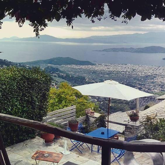 morning view, Makrinitsa , Pelion , Paschalis art house, cafe house , art gallery