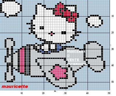 Hello Kitty plane perler beads pattern by Mauricette @Jeanne Englebrecht You could do a Hello Kitty zombie pix. quilt!