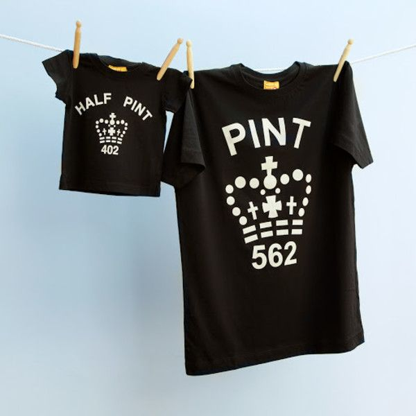 Matching pint and half pint t-shirt set for dad and child (black)