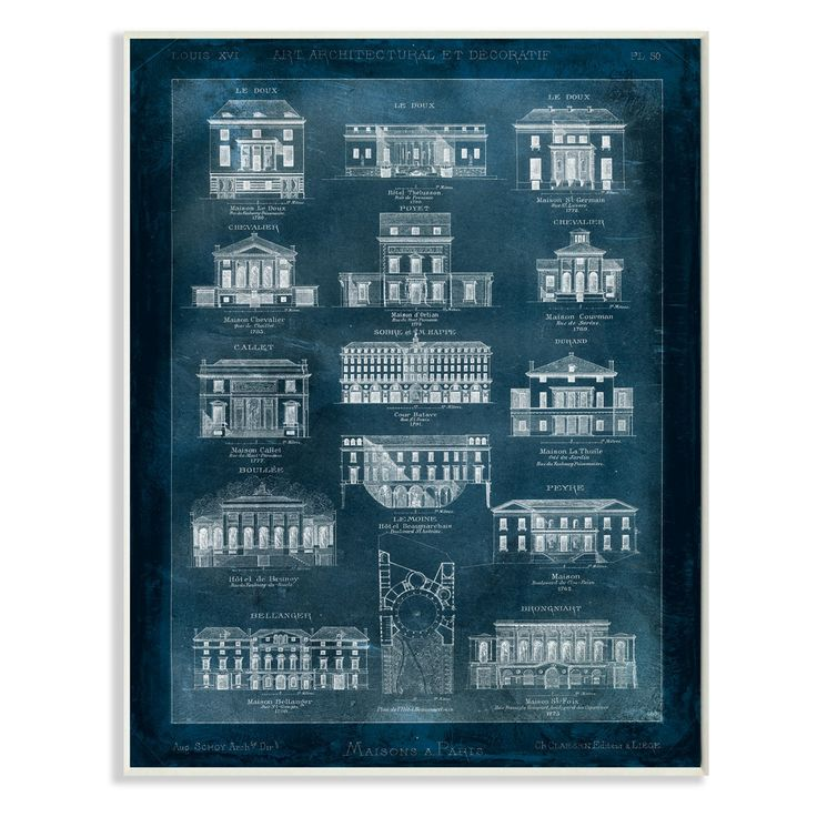 Stupell Decor Blueprint Of Houses Wall Plaque Art - MWP-176_WD_10X15