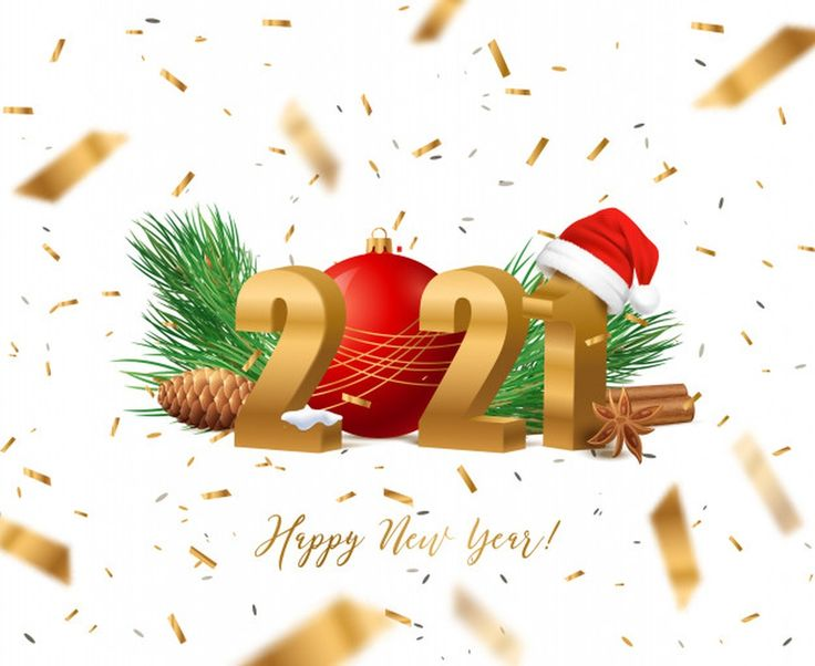 Happy new year 2021 with christmas decoration #paid, , # ...