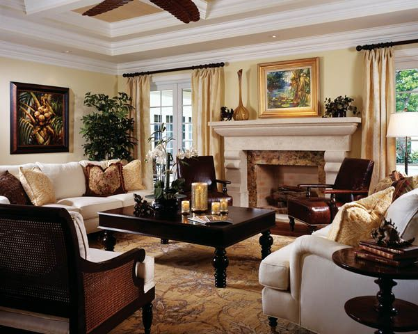 British West Indies interior DESIGN | Florida Design Magazine - Fine Interior Design & Furnishings including ...light upholstery, dark wood, rich leather