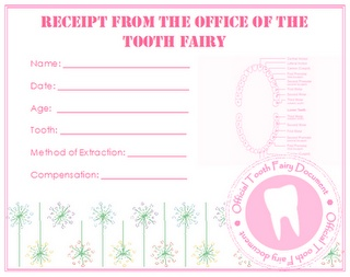 Receipt from the Office of the Tooth Fairy {free printable - pink and blue}