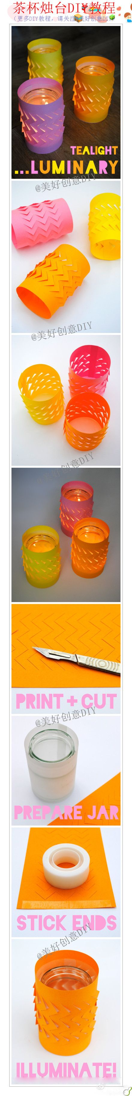 Candle light in jar!  Add paper with creative cutting to enhance the look!