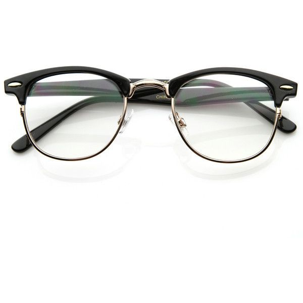 Vintage Optical RX Clear Lens Clubmaster Wayfarer Glasses 2946 49mm ($11) ❤ liked on Polyvore featuring accessories, eyewear, eyeglasses, glasses, sunglasses, fillers, clear wayfarer glasses, tortoise eyeglasses, vintage wayfarer and tortoise wayfarer